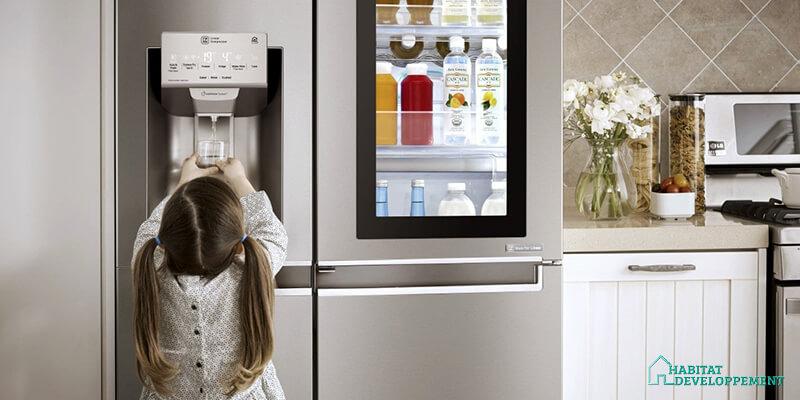 habitat developpement frigo americain congelateur distributeur glacons